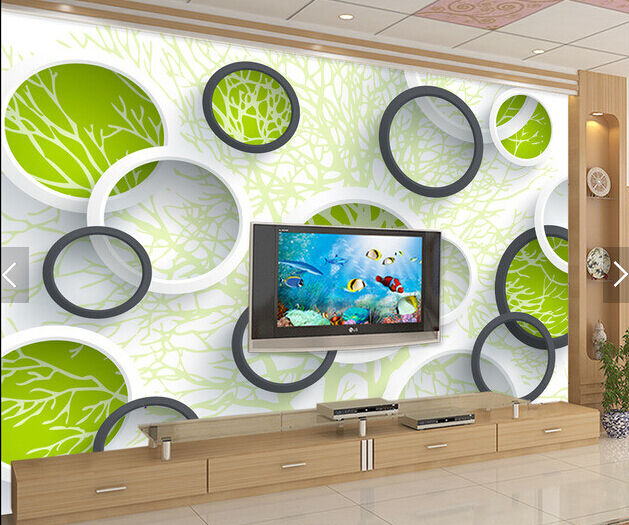 3D Graffiti Branches Circle Paper Wall Print Wall Decal Wall Deco Indoor Murals