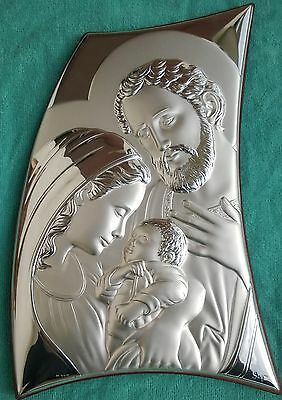 The Holy Family STERLING SILVER Picture Plaque Plate Wall Or Standing Plaque