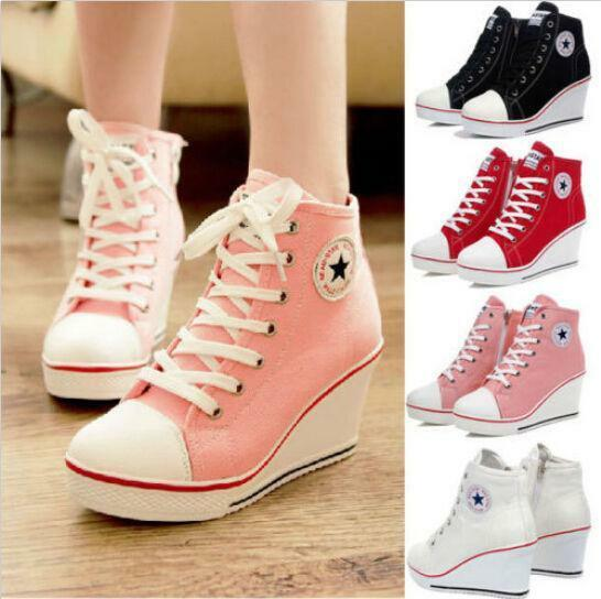 Hot WomensGirls High Top Canvas Sneakers Platform High Wedge Heel Sport shoes