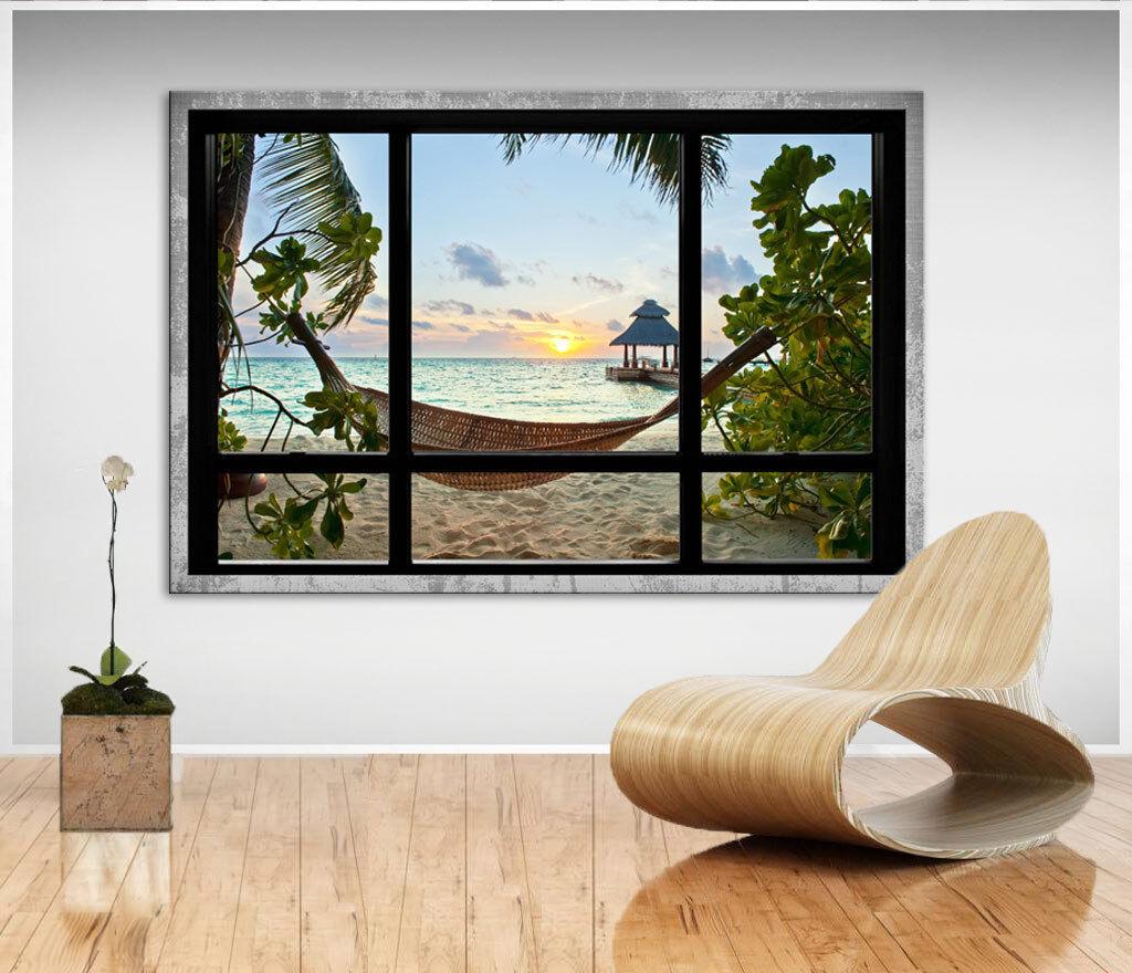 Wandbilder auf Leinwand Fensterblick Meeresblick Südsee Bilder Kunstdruck D1195