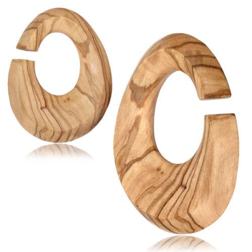 """Paire De 1//2/"""" pouces en bois d/'olivier oreille poids ovale Jauges Hoops Plugs Tunnels Horse"""