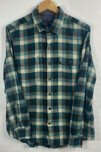 Woolrich-Plaid-Flannel-Long-Sleeve-Button-Front-Blue-Shirt-Mens-Size-L