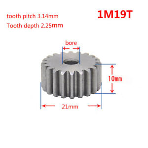 1 Mod 19T Spur Gear 45# Steel Motor Pinion Gear Outer Dia 21mm x 1Pcs