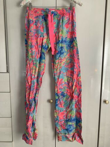 Lilly Pulitzer Pajama Pants Pink Woven Cotton Mult
