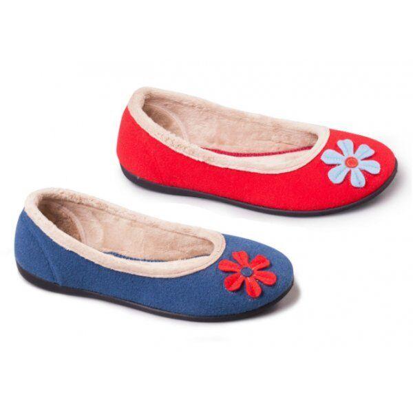 Padders HAPPY Ladies Womens Felt Wide E Fit Warm Memory Foam Ballerina Slippers