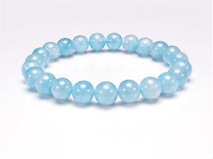 Aquamarine Natural Gemstone Bracelet 6-9'' Elasticated Healing Stone Chakra