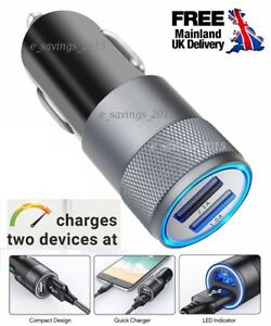 Twin-Dual-Double-2-USB-Port-12V-In-Car-Socket-Lighter-fast-Charger-Adapter-UK