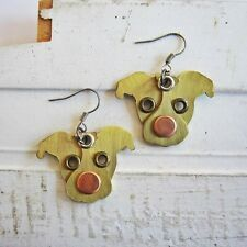 Pit Bull Red Nose Metal Rivet Earrings (Jnpt) - Free Shipping