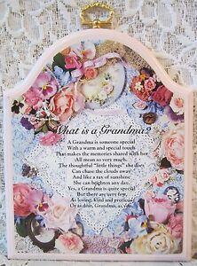 Detalhes Sobre Impressão De Flor O Que é Uma Avó Poema Placa De Suspensão De Parede 6 12 X5 14 Kathy Anns Mostrar Título No Original