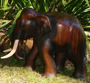 Hand-Carved-Thai-Wooden-Elephant-Brand-New-42cm-Size-Fair-Trade-made-in-Thailand