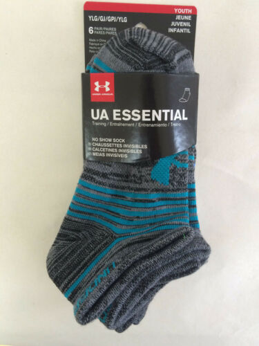 NWT 6 Pairs Under Armour Youth Kids Essential No Show Socks Multi 13.5K-4Y YLG