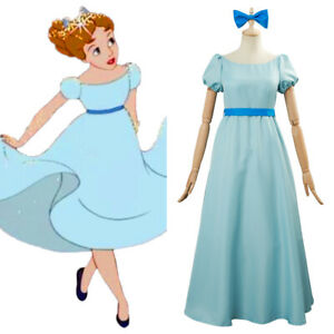 Details About Animated Film Peter Pan Wendy Darling Cosplay Costume Maxi Dress W Bow Blue