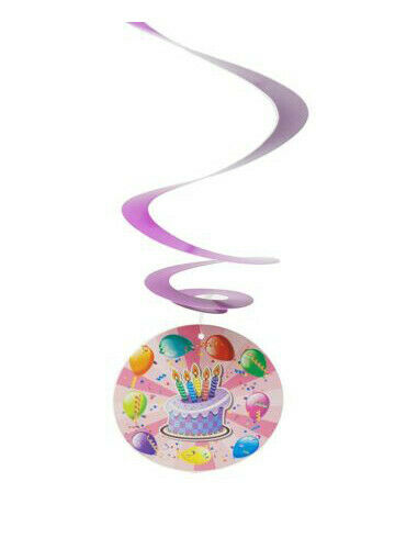 Purple AEX Cake Balloons Round Hanging Swirls Decoration Pack of 6