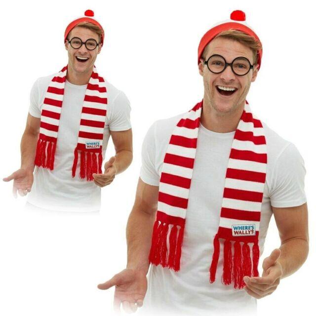 Mens Licensed Wheres Wally Fancy Dress Kit Where/'s Wally Set
