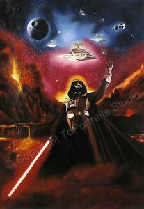 Star-Wars-Darth-Vader-Death-Star-Original-Hand-Painted-Poster-Oil-Painting-XL