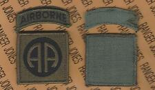US Army 82nd Airborne Division OD Green & Black BDU Hook-n-Loop uniform patch