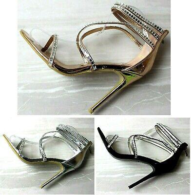 Da Donna Con Tacco Alto Cinturino Alla Caviglia Barely There Sandali Scarpe Misura-