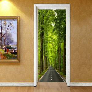 Image Is Loading Self Adhesive 3D Green Forest Path Door Murals