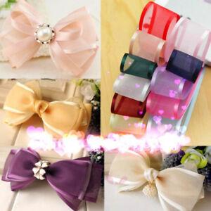 5yards-1-034-25mm-Satin-Edge-Organza-Ribbon-Bow-Wedding-Decoration-Lace-Craft-HS