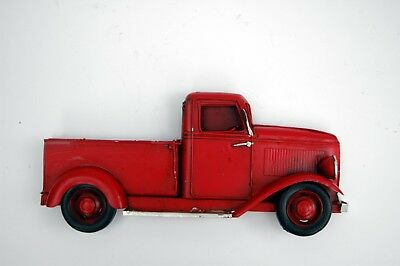 Red Christmas Truck.Vintage Red Metal Truck Rustic Wall Hanging Antique Chevy Christmas Truck Ebay