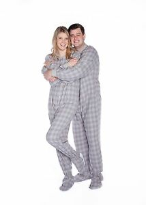 Big Feet Pjs - Gray & White Flannel - Adult Footed Pajamas One Piece Onesie
