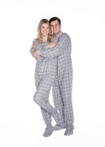 Adult Footed One Piece Pajamas Gray /& White Flannel Big Feet Pjs