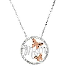 Crystaluxe 'Mom' Script Flower Pendant w Swarovski Crystals in Two-Tone Silver