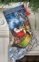 Cross Stitch Kit Gold Collection Santa's Flight Christmas Stocking 70-08923