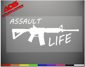 ASSAULT LIFE Vinyl Decal StickersGUN Rights StickerAR15 Car Window Decals