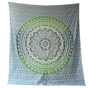 Couverture-indienne-Tenture-Fleur-Mandala-vert-blanc-230x210cm