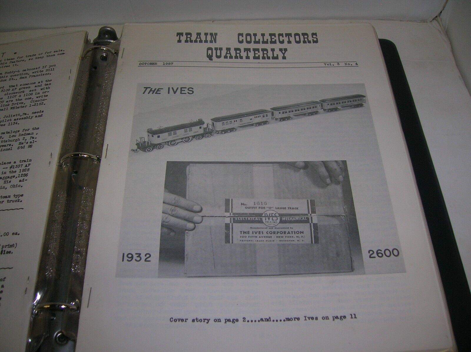 TRAIN COLLECTORS QUARTERLY NEWS LETTER OCTOBER 1957 VOL. 3 NO. 4- MAKE OFFERS