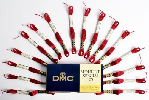 DMC MOULINE SPECIAL 25 cross stitch filetage 16 écheveaux X 4 Mètre Long Rouge 150