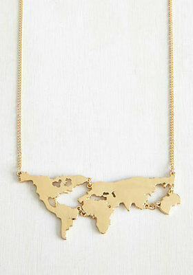 14K Women's Gold Plated World Map Pendant Necklace