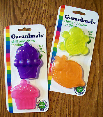 TEETHING TOY GARANIMALS CHILL AND CHEW TEETHER 2 PK   3 Months
