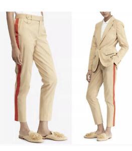 198 Nuevo Con Etiquetas Para Mujer Talla 12 Polo Ralph Lauren Algodon Pantalones De Color Caqui Rojo A Rayas Beige Ebay