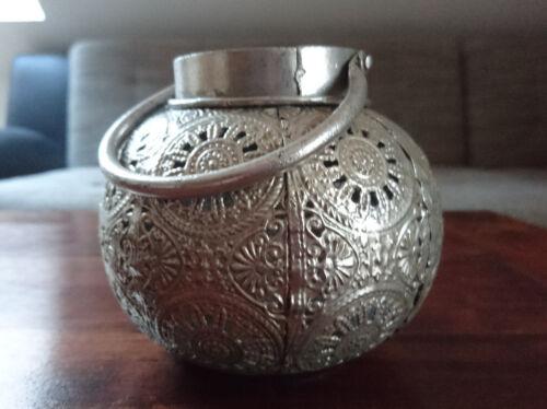 MAROKKANISCHE LATERNE WINDLCHT Metall silber antik LAMPE ORNAMENTE ORIENTALISCH