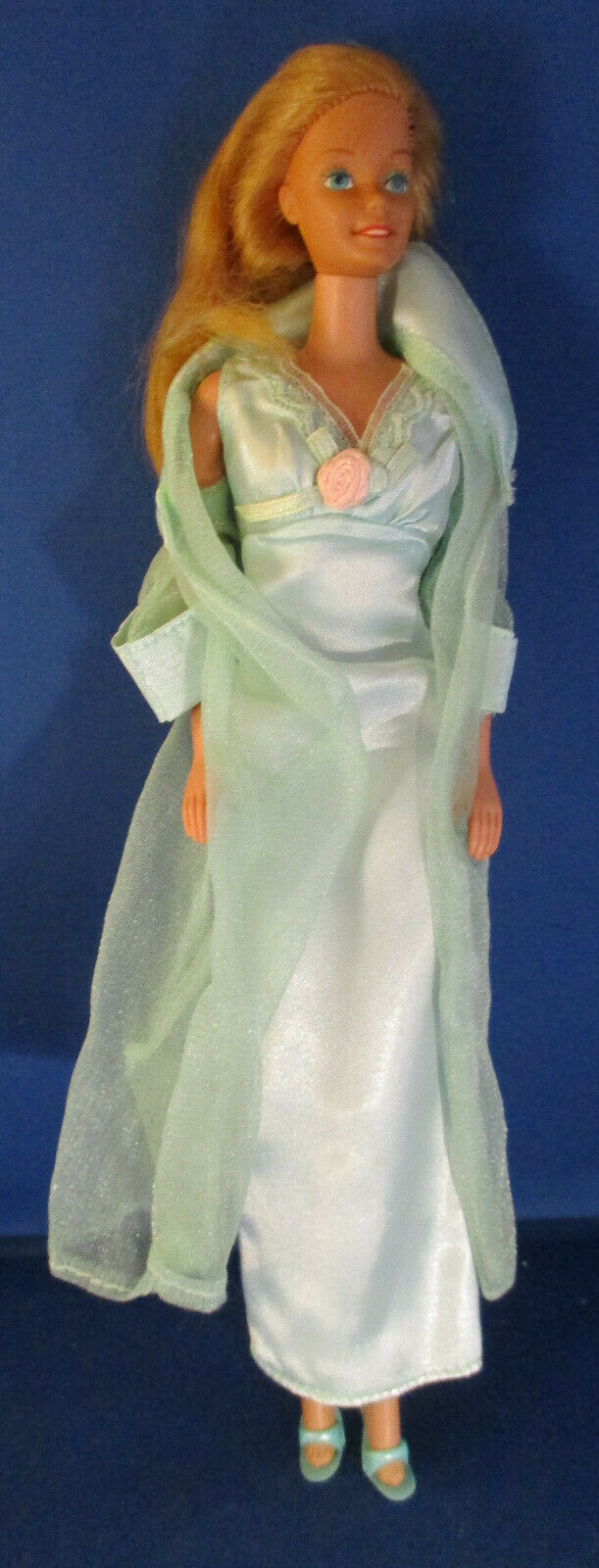 Mattel Barbie Doll 1966 in Green Nightgown and Green Organza Robe and Heels