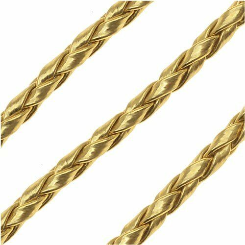METALLIC GOLD 3mm Fabulous Faux Leather Braided Woven Cord lady-muck1