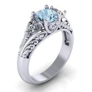 Fashion-925-Silver-Wedding-Rings-for-Women-Round-Cut-Aquamarine-Ring-Size-6-10