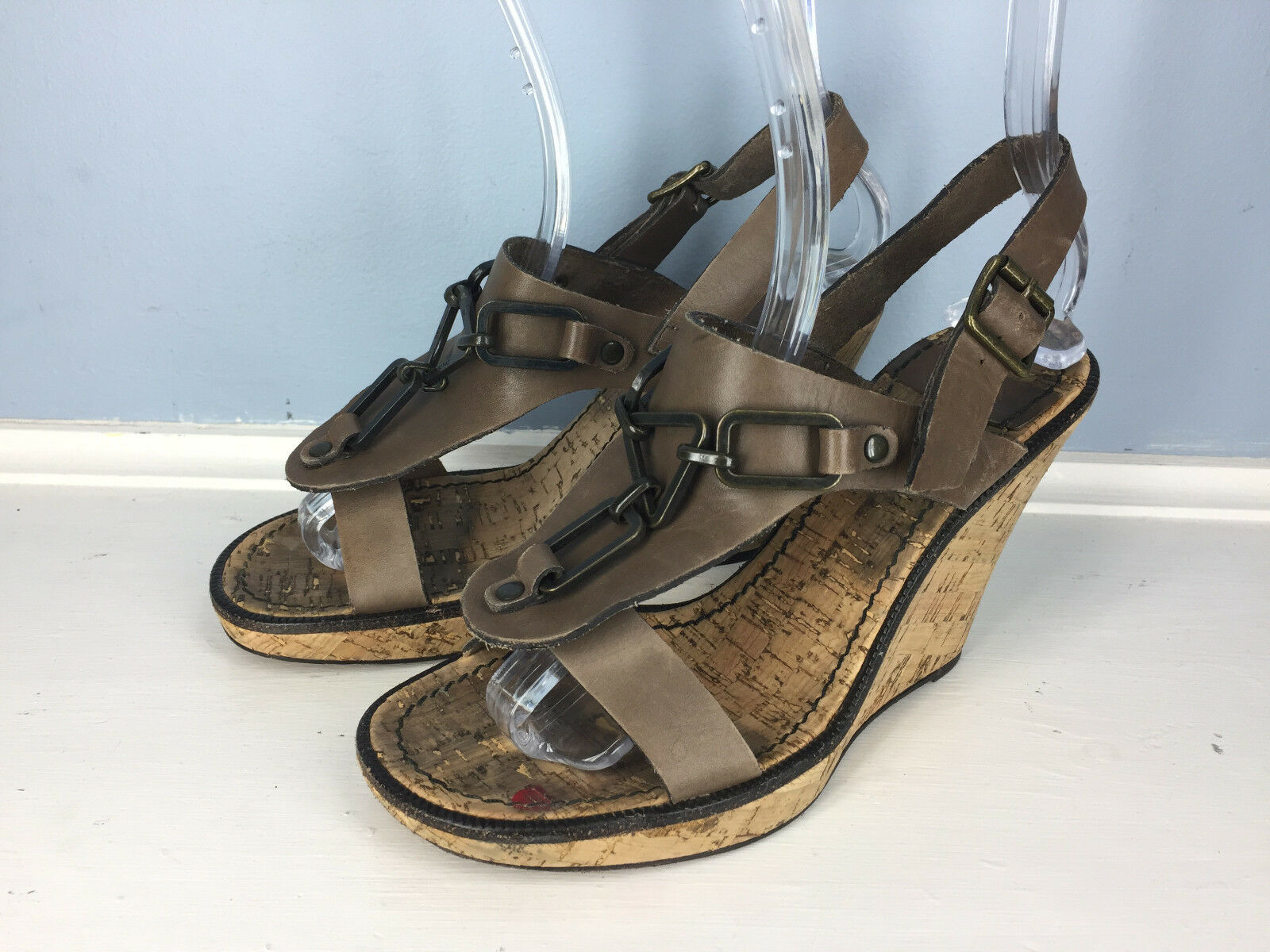 SEE by CHLOE Braun Leder Cork Wedge Sandale Excellent 38.5 8.5 LOGO Hardware