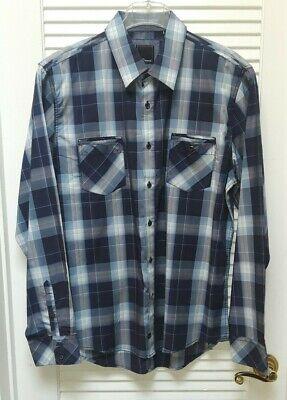 7 Diamonds Mens Xl Blue Plaid Long Sleeve Dress Shirt Snap Pocket