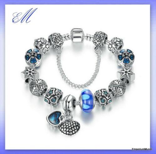 Bettelarmband mit 12 Charms Glasperle und 2 Anhänger 20 cm Farbe Blau 15 Teile