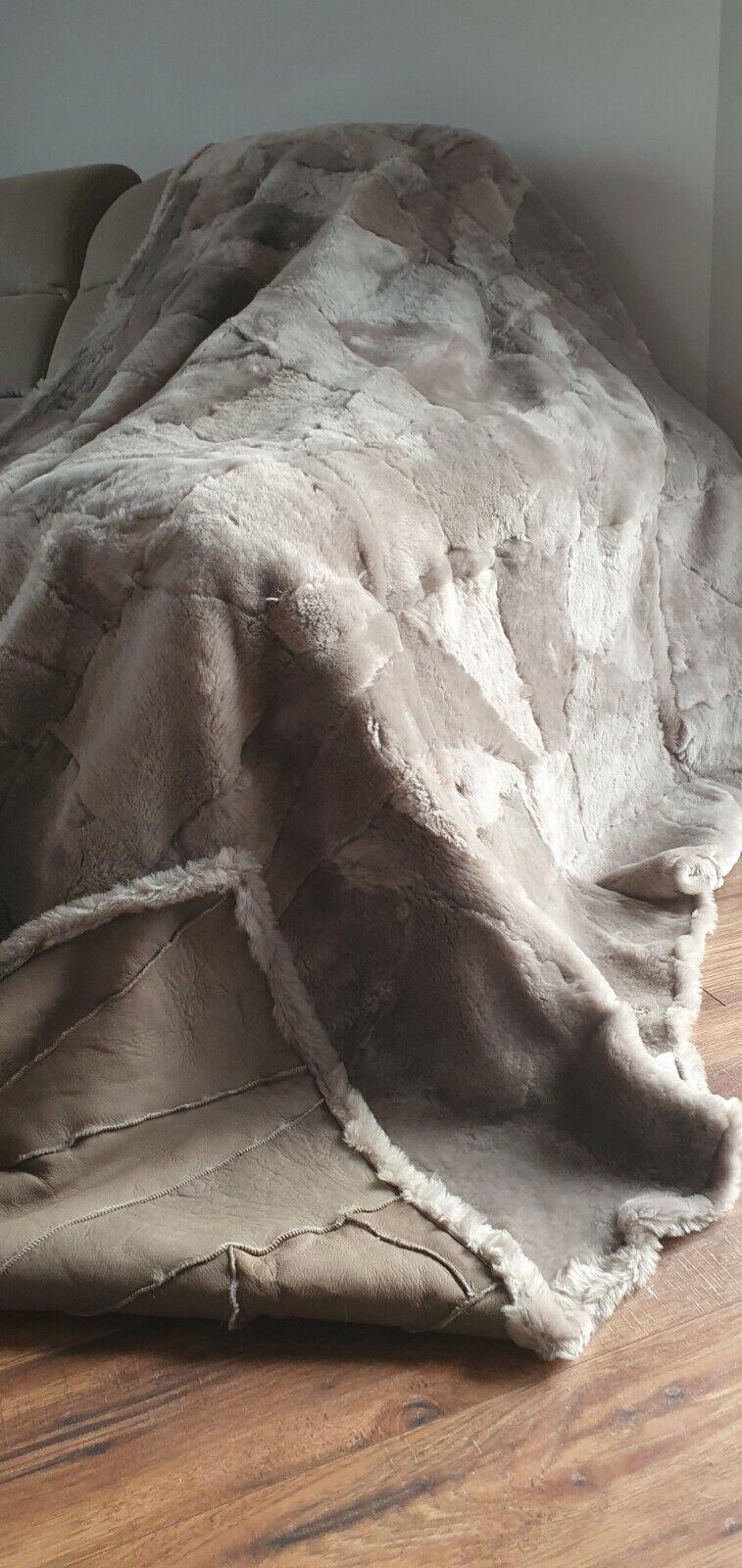 Decke / Überwurf Toskana 100% Wolle Lammfell Echt Fell Teppich King 160/200