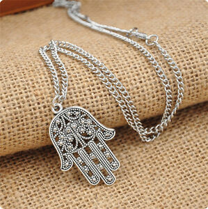 Vintage-Silver-Hamsa-Hand-of-Fatima-Pendant-Amulet-Evil-Eye-charm-Necklace