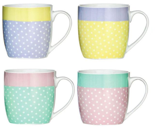 Set Of 4 Large 12oz Capacity Porcelain Pastel Dots Design Tea Coffee Mugs Cup
