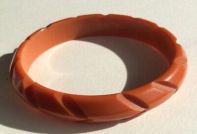 Vintage Orange Black Bakelite Bangle Bracelet Hefty Domed Tested 54 gms Pumpkin