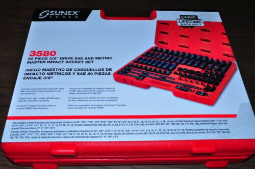 3/8 Drive Master Impact Socket Set, 80 Piece Set Sunex 3580