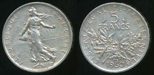 France-Modern-Republics-1960-5-Francs-Silver-good-Very-Fine