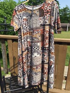 Rags-and-Couture-Dress-with-Pockets-Brown-Tan-Orange-Summer-Fall-Short-Sleeve-XL