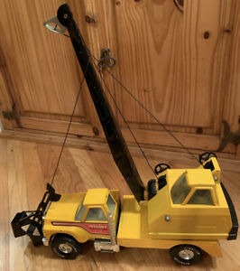 Vintage-Nylint-Road-Builders-Construction-Crane-Truck-Pressed-Steel-RARE-1970-039-s